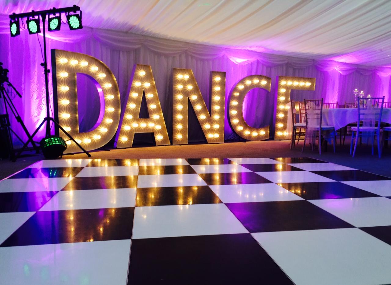 Light up letters elite sound and lighting leeds elite for 1234 lets on the dance floor